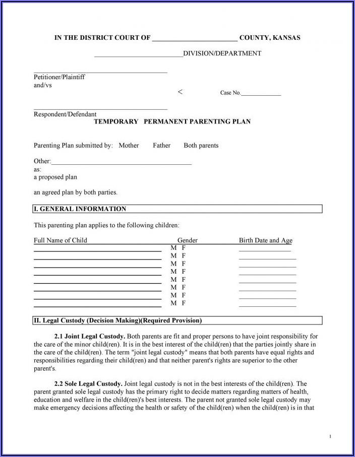 Printable Child Custody Agreement
