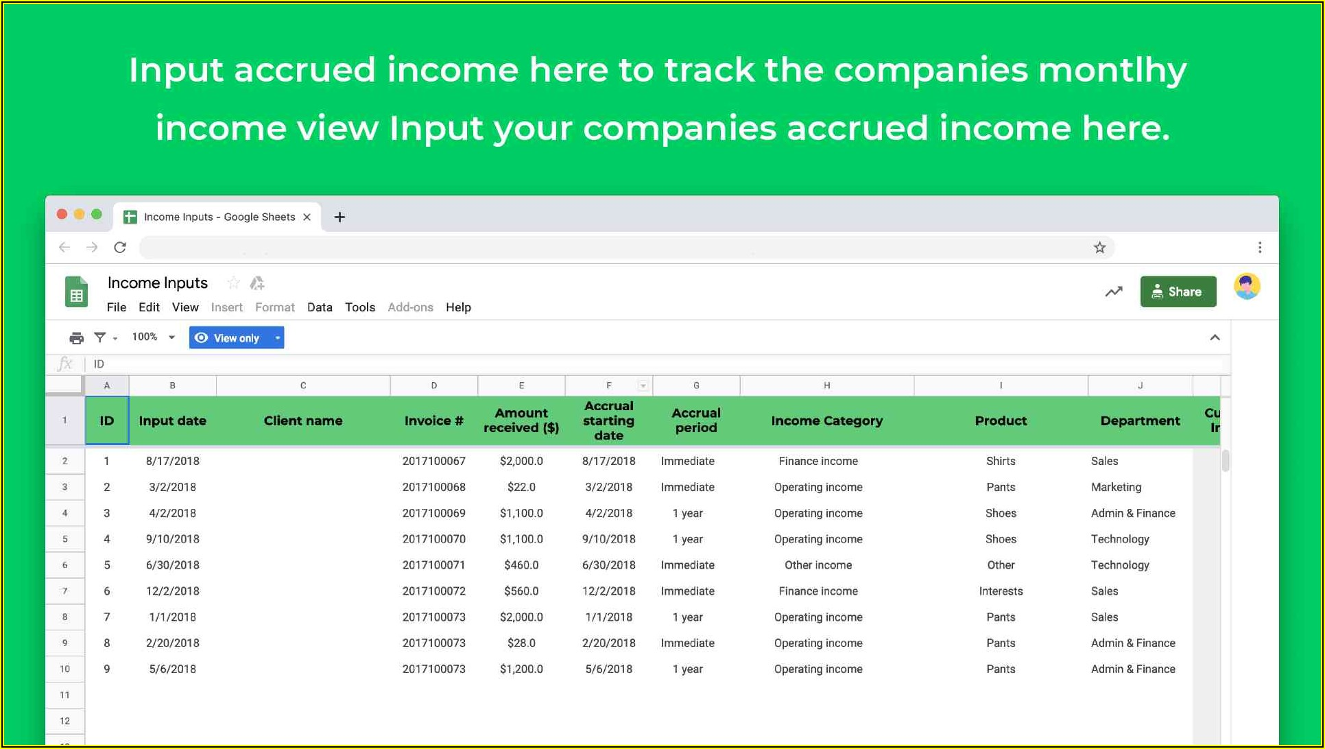Profit And Loss Statement Template Google Sheets