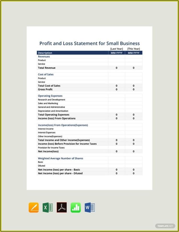 Profit And Loss Statement Template Pdf