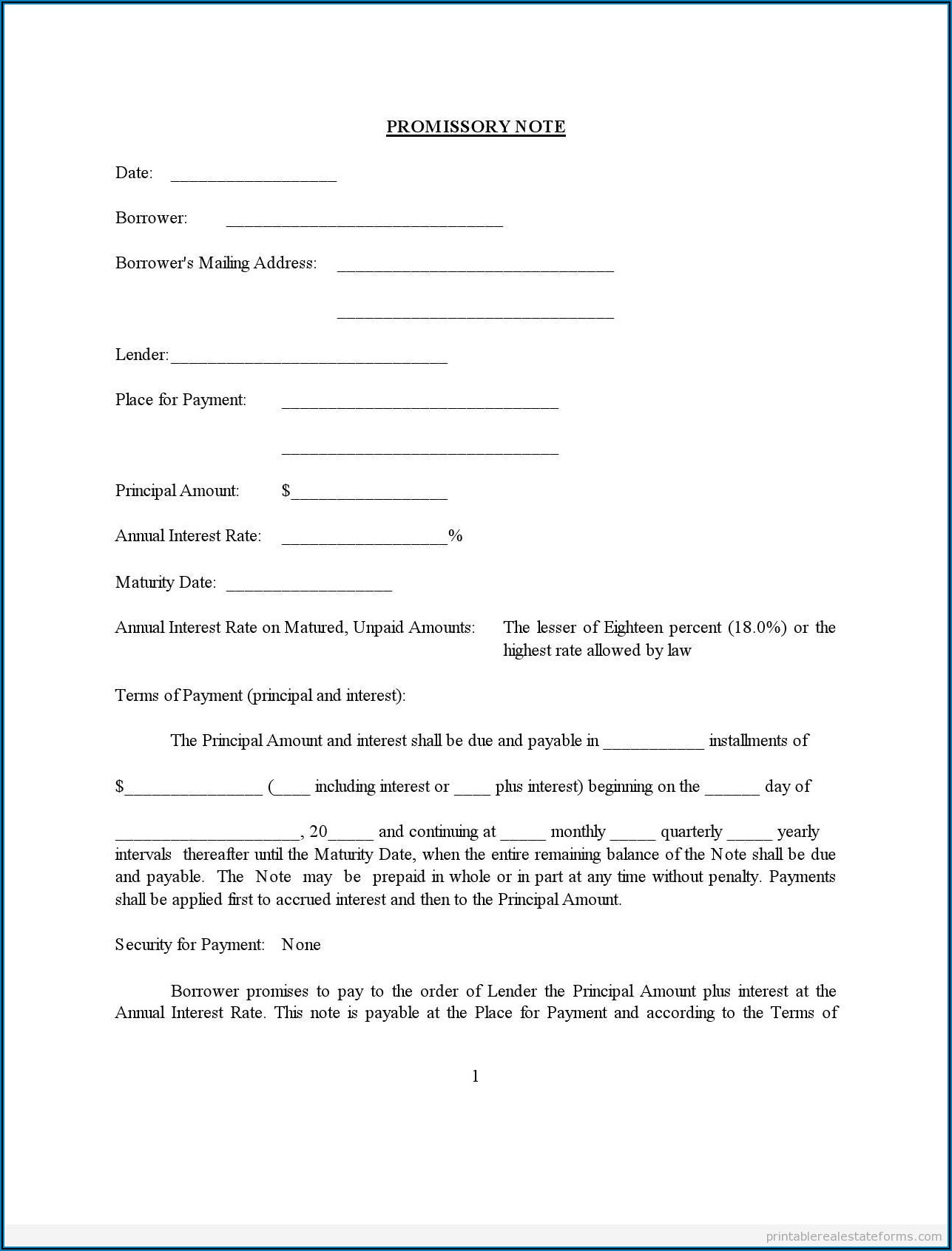 Promissory Note Sample Legal Forms