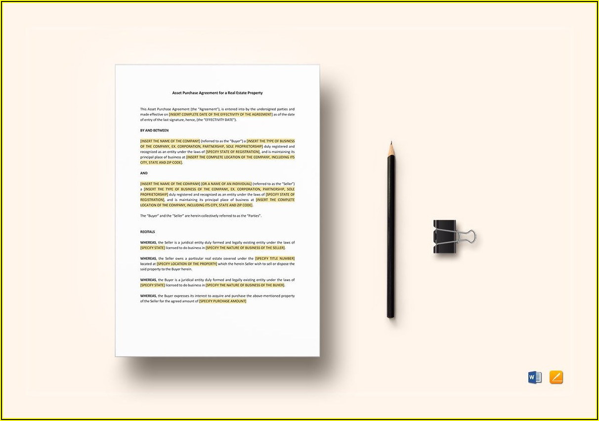 Property Purchase Agreement Template Word