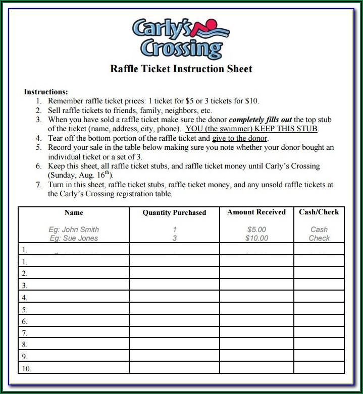Raffle Sheet Template 1 100