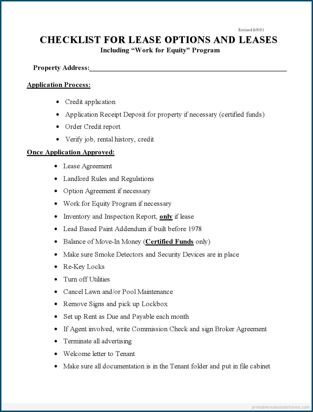 Real Estate Inspection Checklist Template