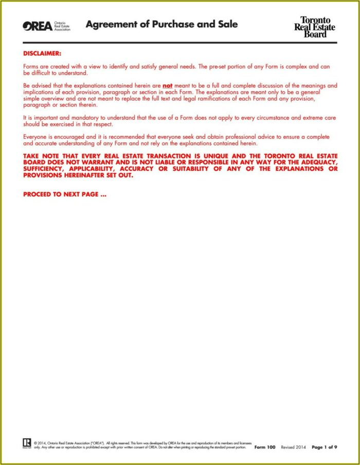 Real Estate Purchase Agreement Template Ontario