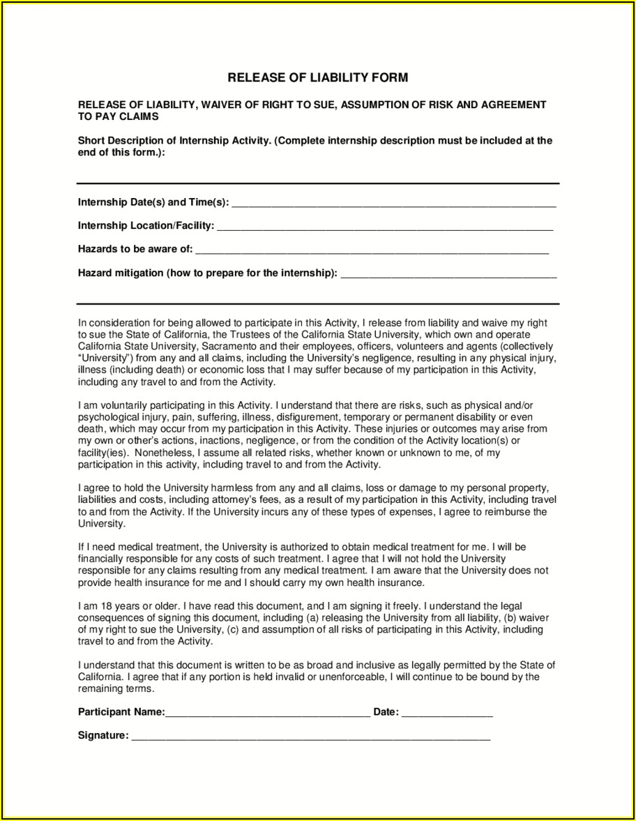 Release Of Liability Waiver Template California