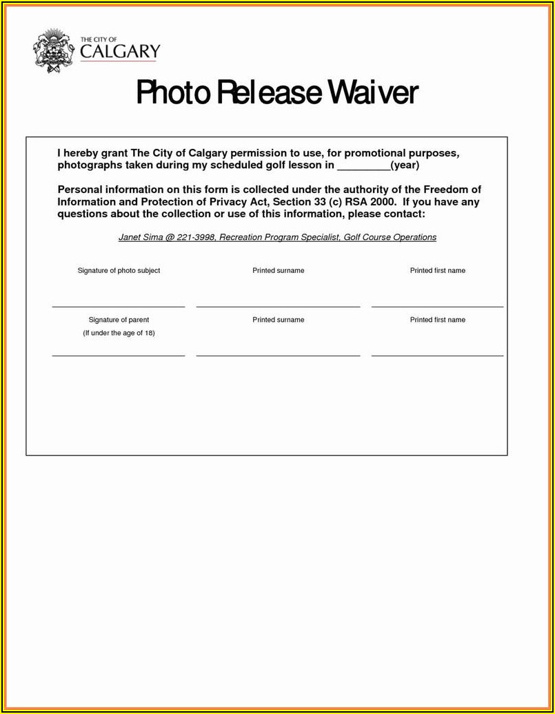 Release Of Liability Waiver Template