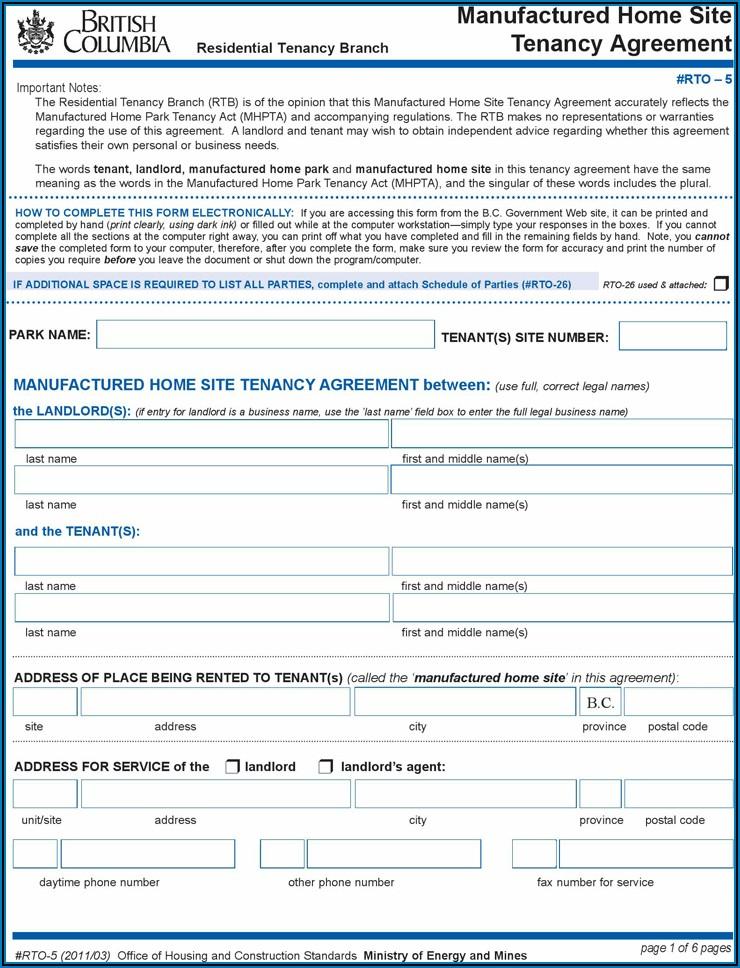 Rental Tenancy Agreement Bc Forms