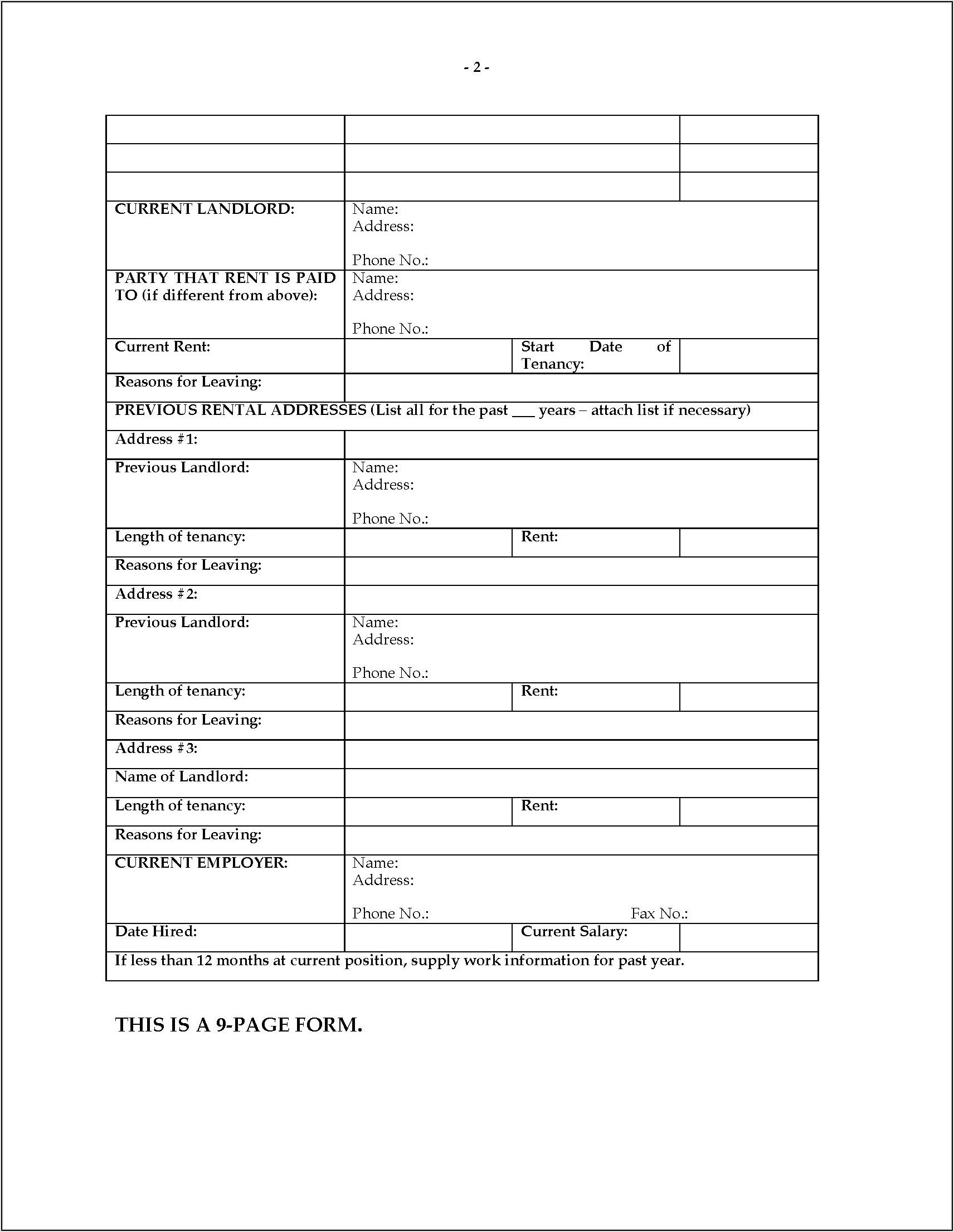 Residential Rental Application Form Alberta