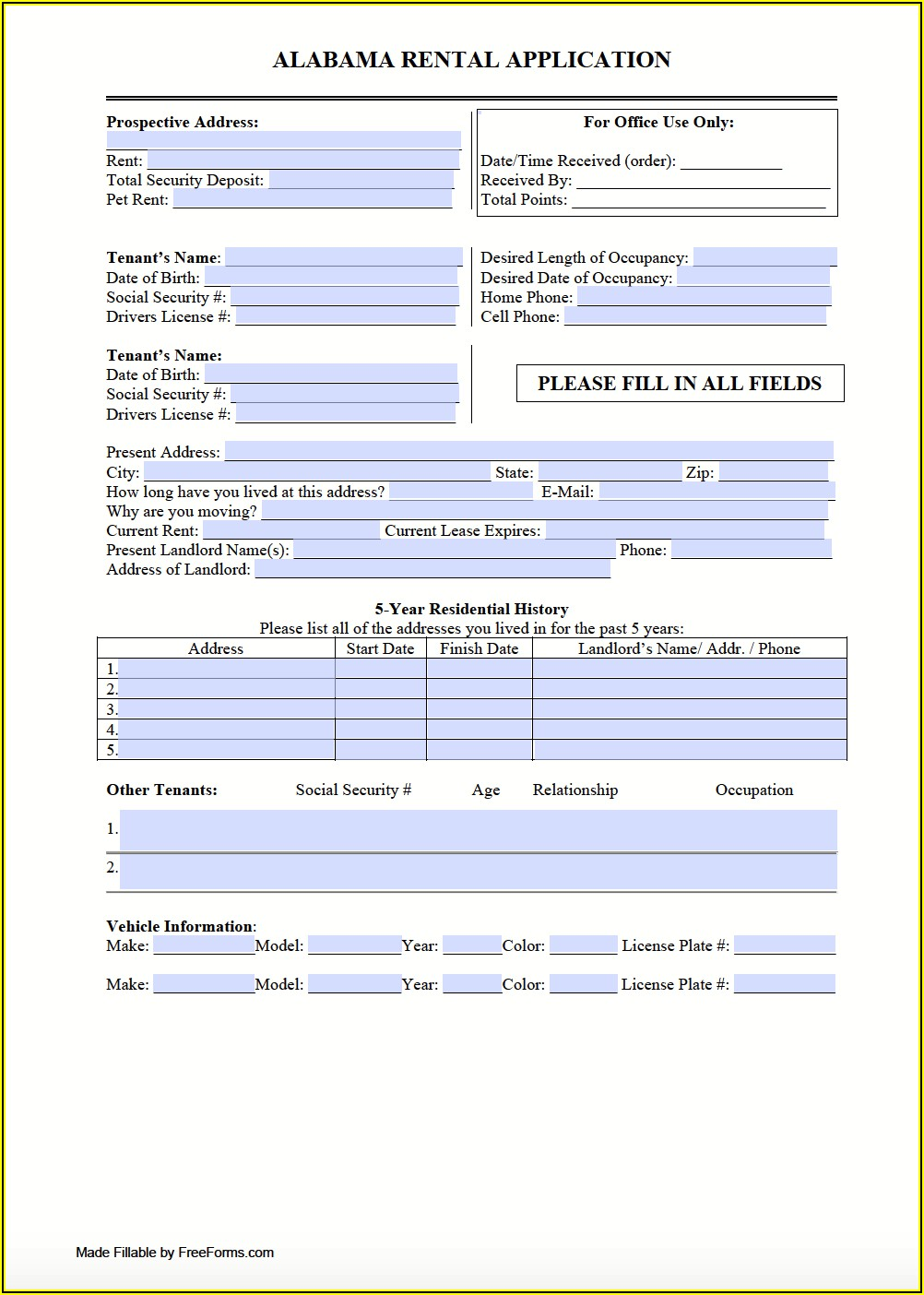 Residential Rental Application Form Word