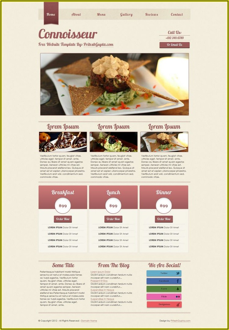 Restaurant Website Templates Free