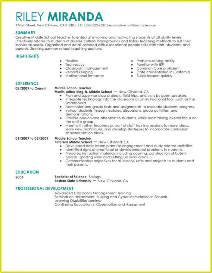 Resume Example For Teaching Position