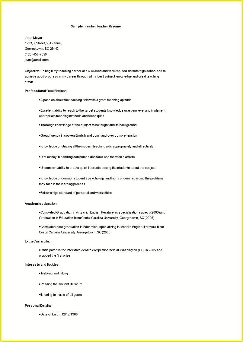 Resume Samples For Teaching Job Fresher