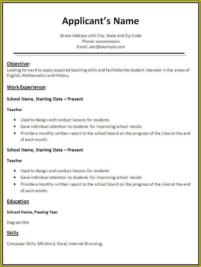 Resume Samples For Teaching Job