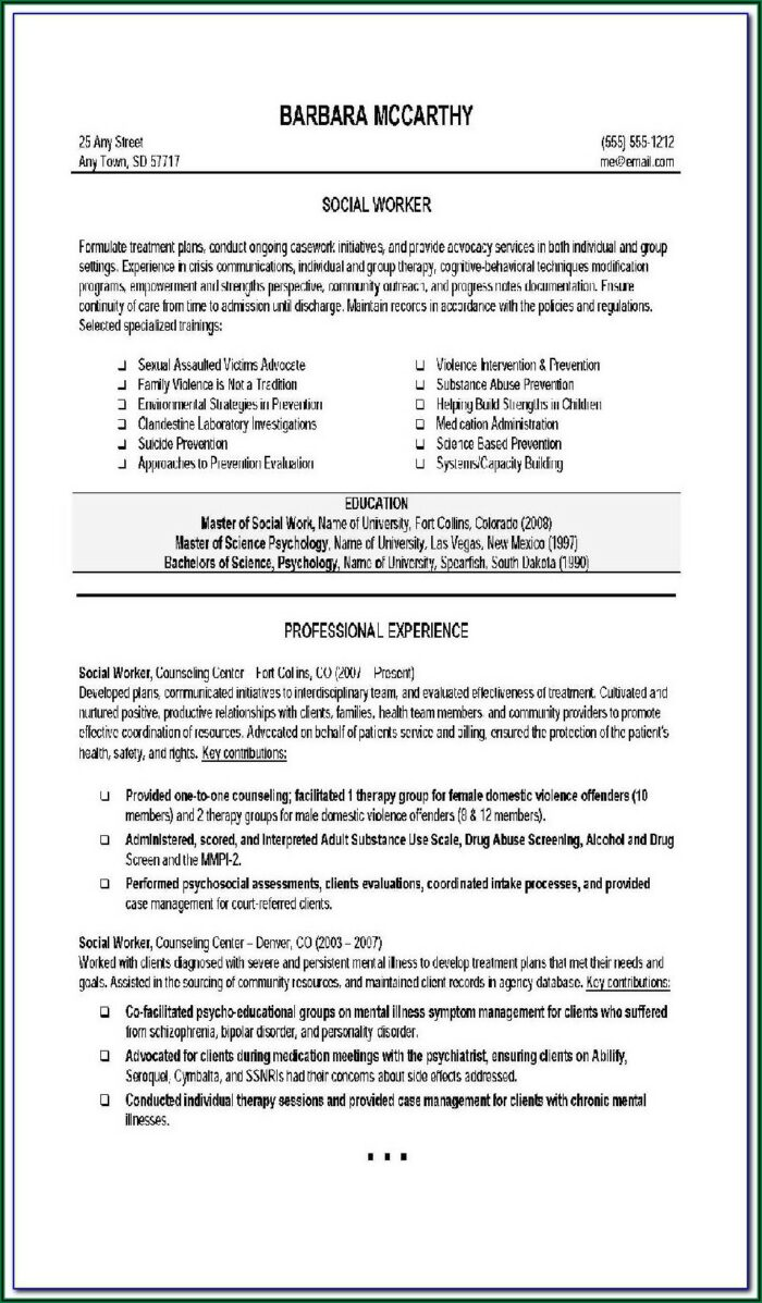 Resume Templates For Construction Work