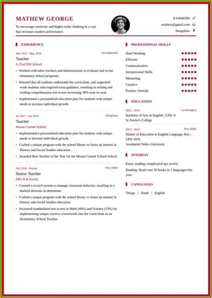 Resume Templates For Education Jobs
