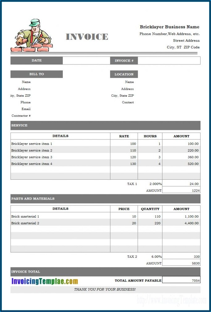 Roofing Invoice Sample