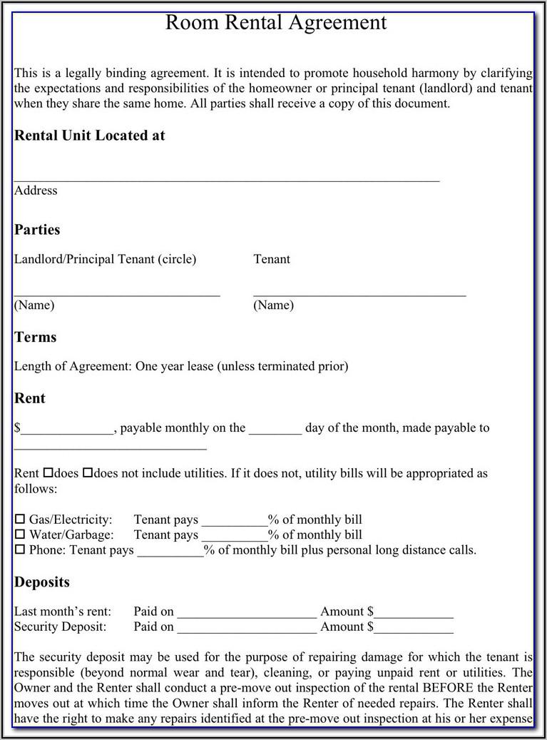 Room Rent Contract Sample Uk