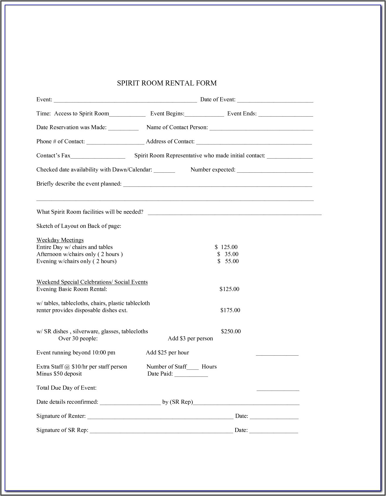 Room Rent Contract Sample