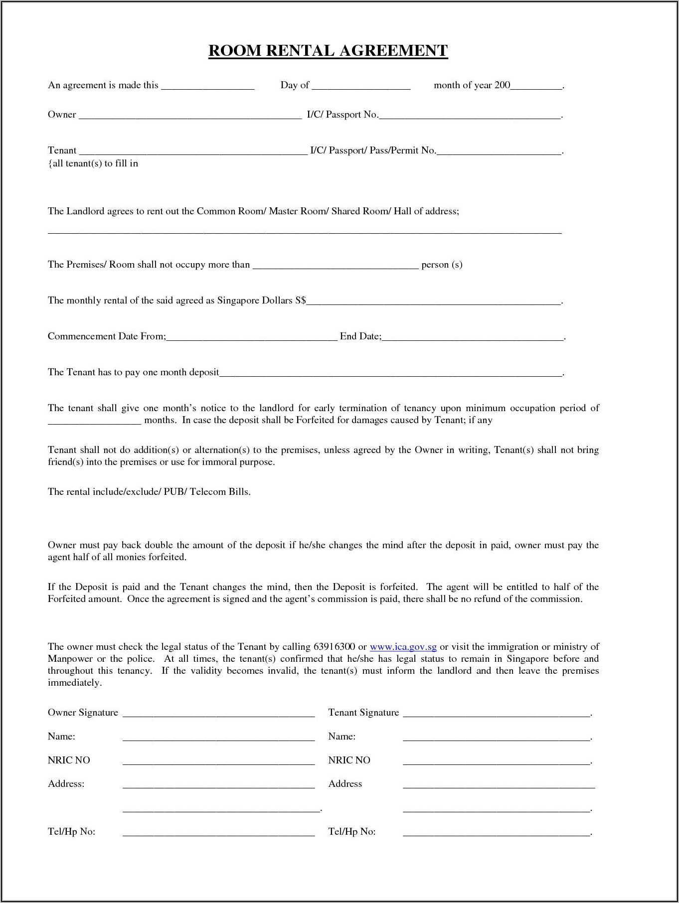 Room Rent Contract Template