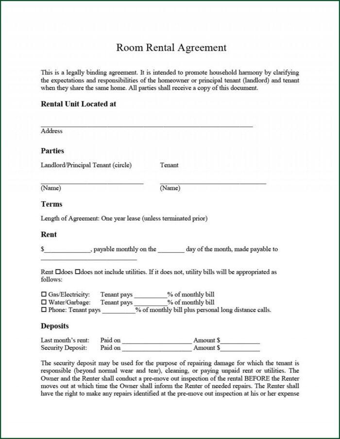 Room Rental Agreement Template Uk