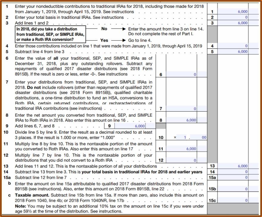 Roth Ira Distribution Form 1040