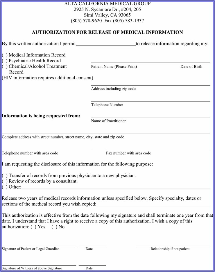 Sample Hipaa Release Form California