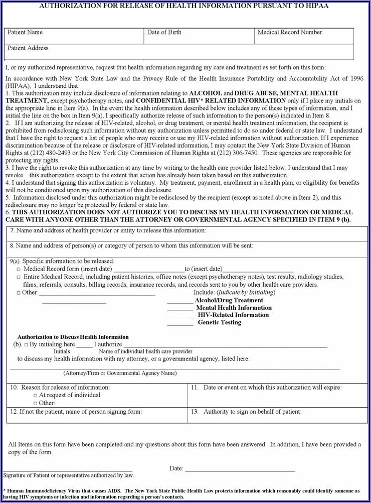 Sample Hipaa Release Form