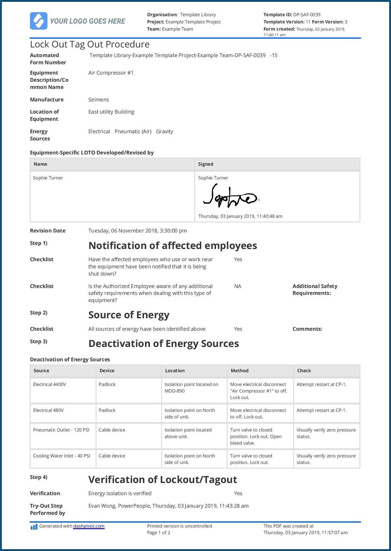 Sample Lockout Tagout Procedure Form