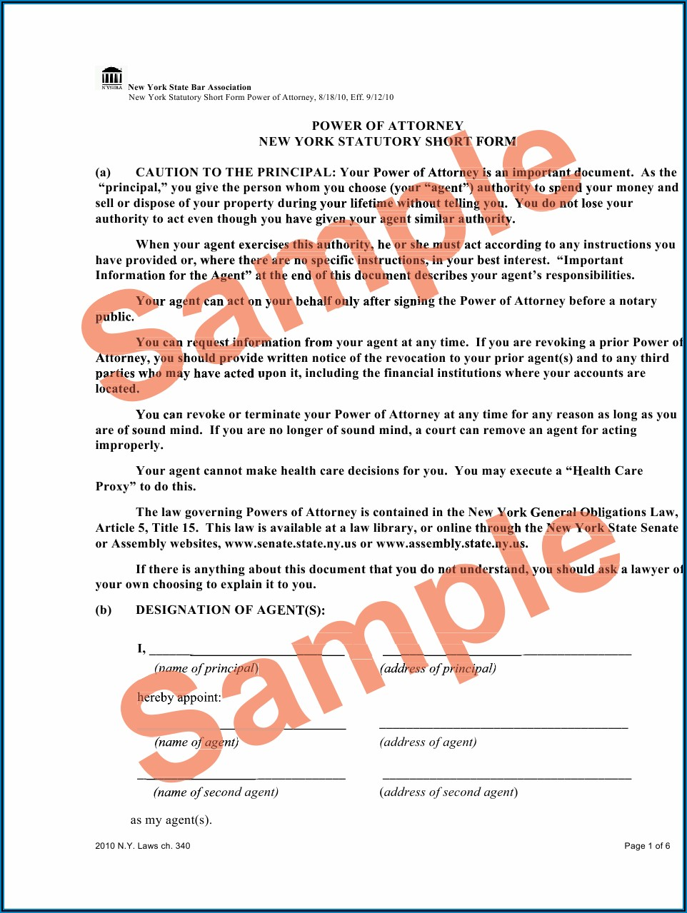 Sample Ny Durable Power Of Attorney Form