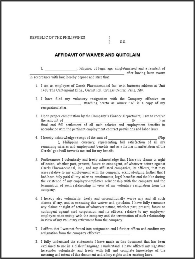 Sample Quit Claim Deed Form Philippines