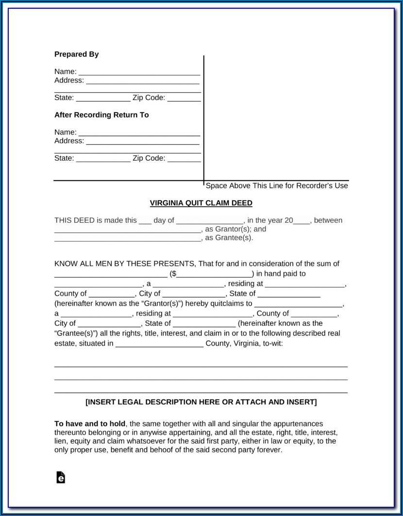 Sample Quit Claim Deed Form Virginia