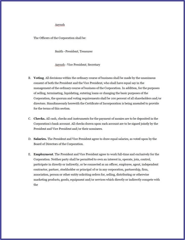 Shareholders Agreement Sample In Word Format