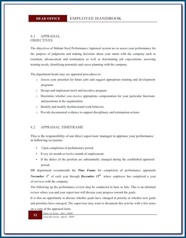 Staff Handbook Template Free