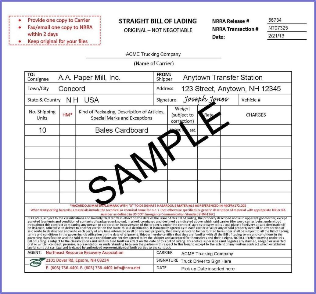 Standard Form Bill Of Lading