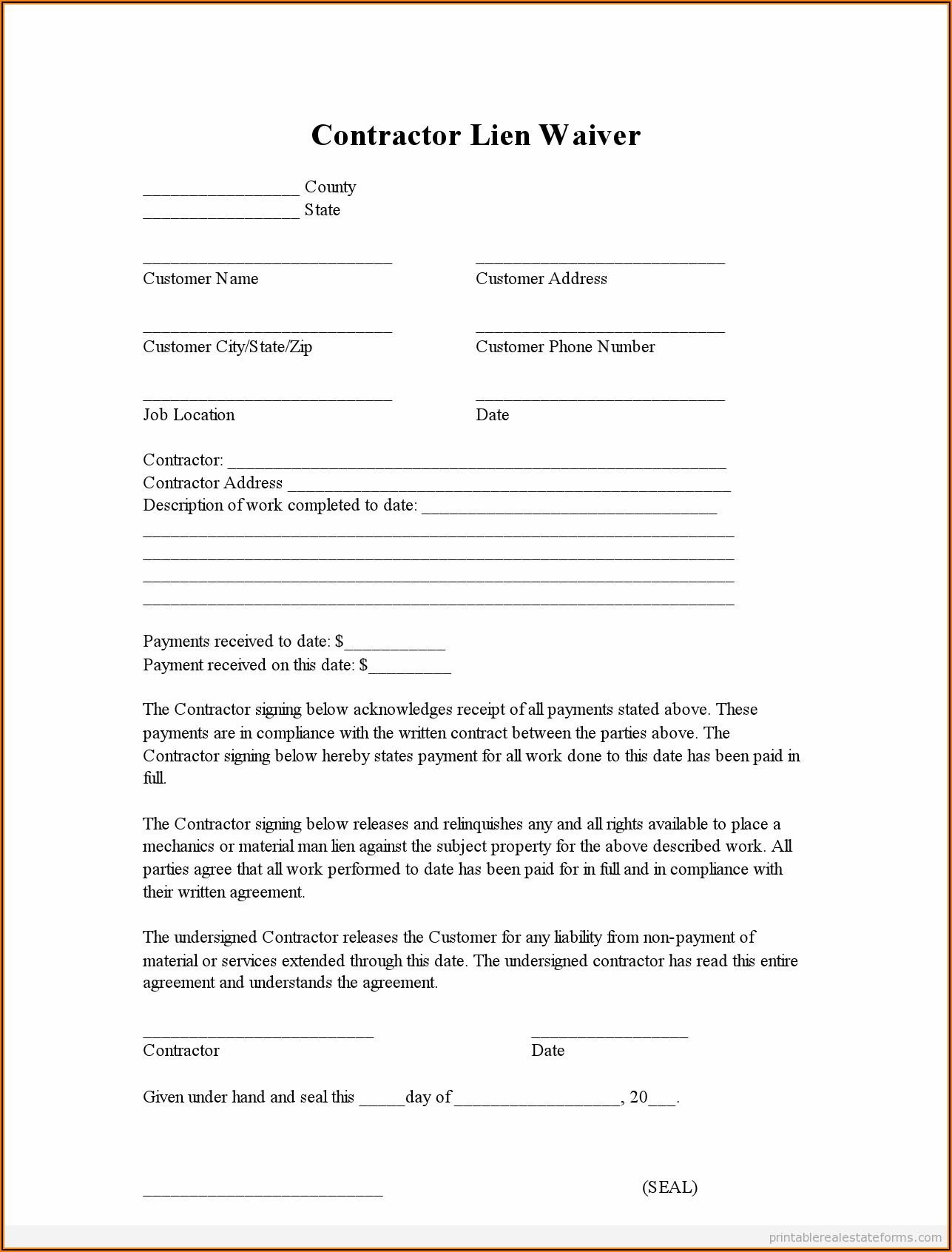 Standard Lien Waiver Form Free