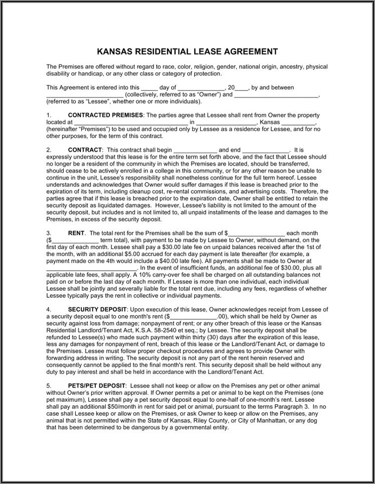 Standard Residential Lease Agreement Form Pdf