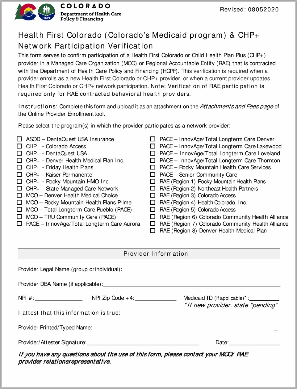 State Of Colorado Medicaid Application Form