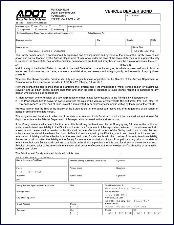 Surety Bond Form For Computer Advance