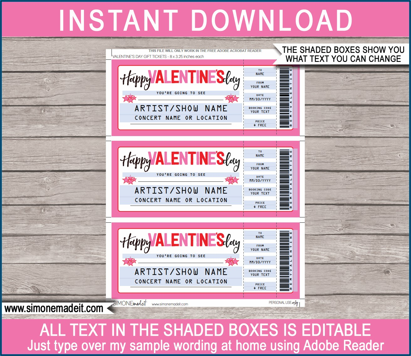 Template For Concert Ticket Gift