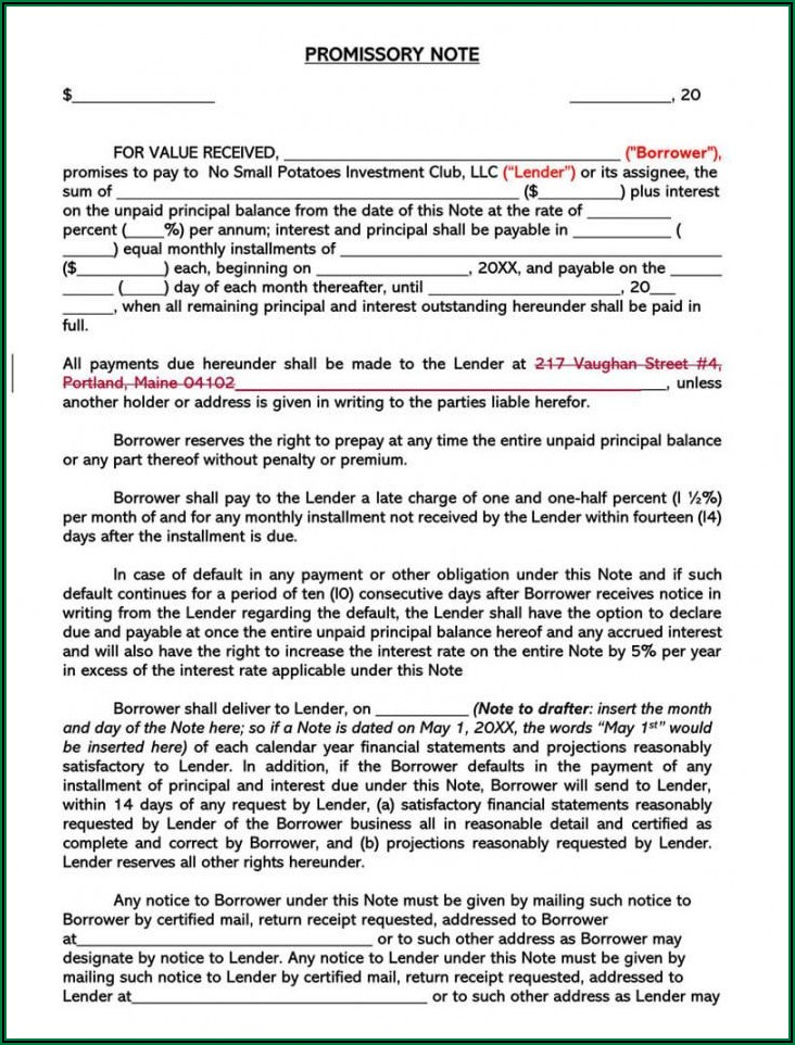 Template For Unsecured Promissory Note