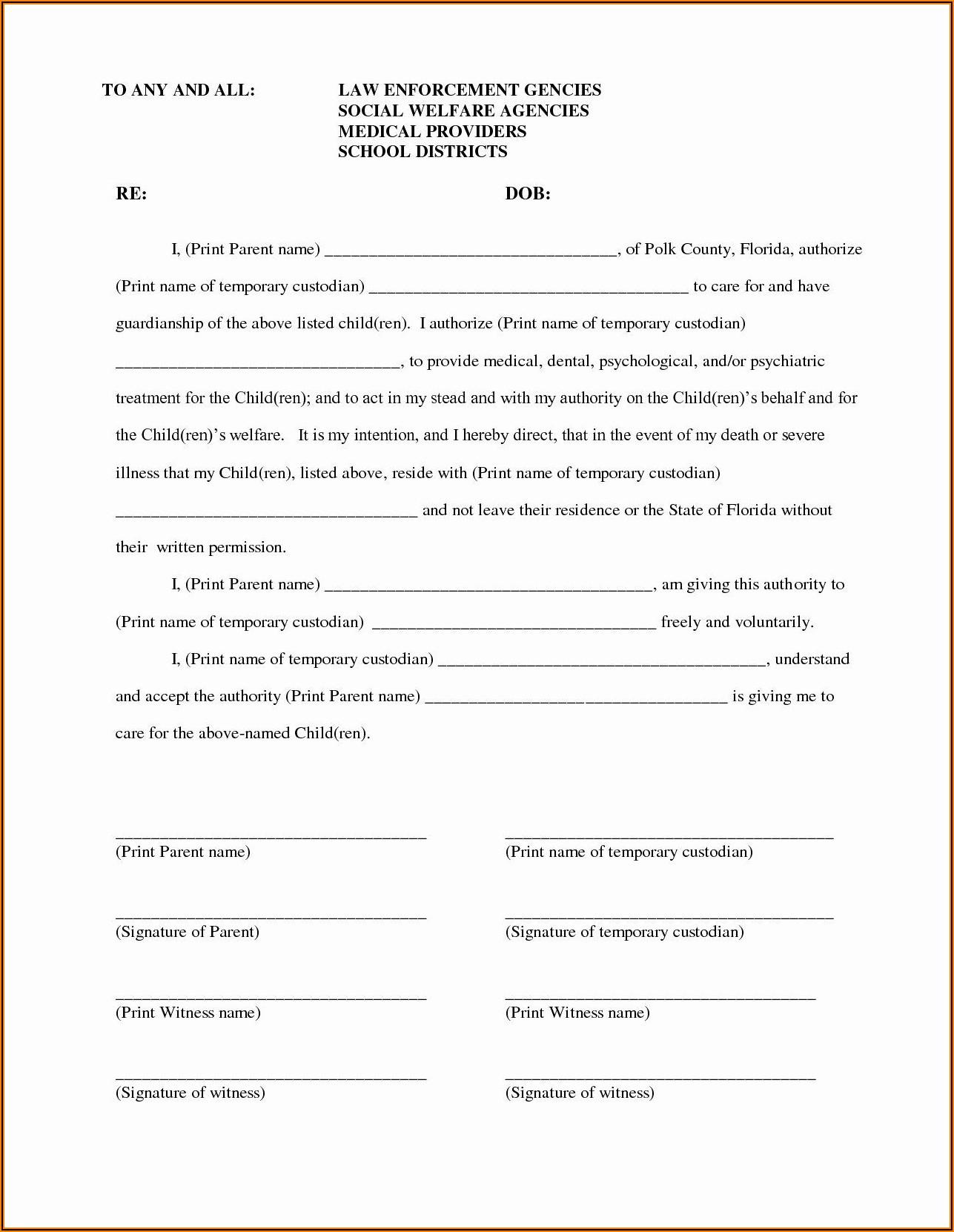 Temporary Custody Form Utah