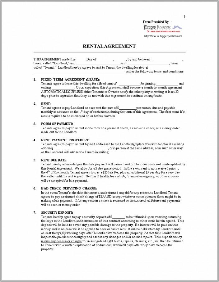 Tenancy Agreement Sample Free Download