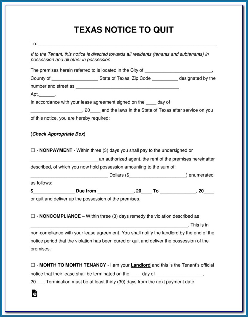 Texas 3 Day Eviction Notice Form Pdf