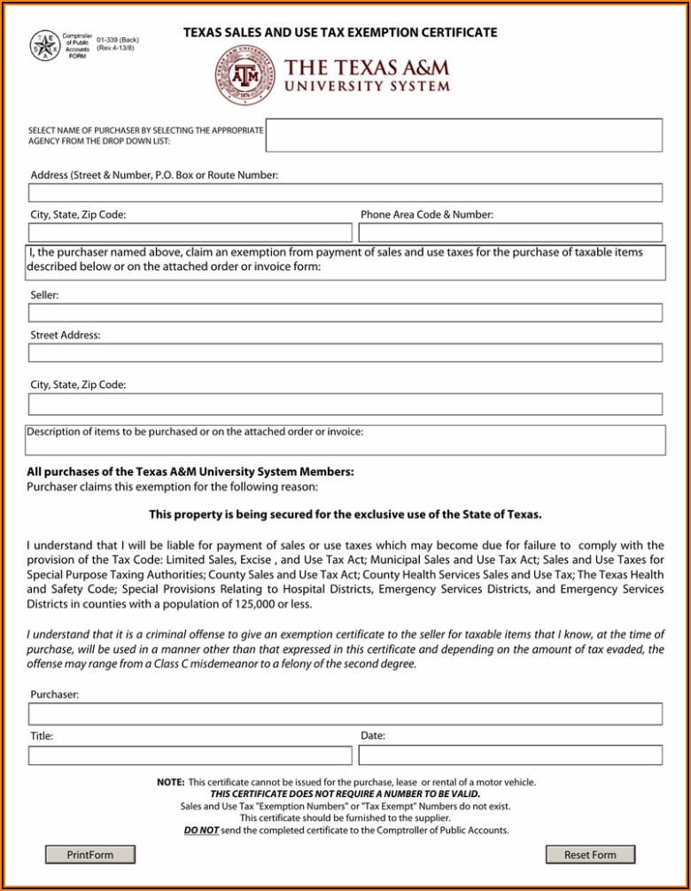 Texas Sales And Use Tax Resale Certificate Form 2021