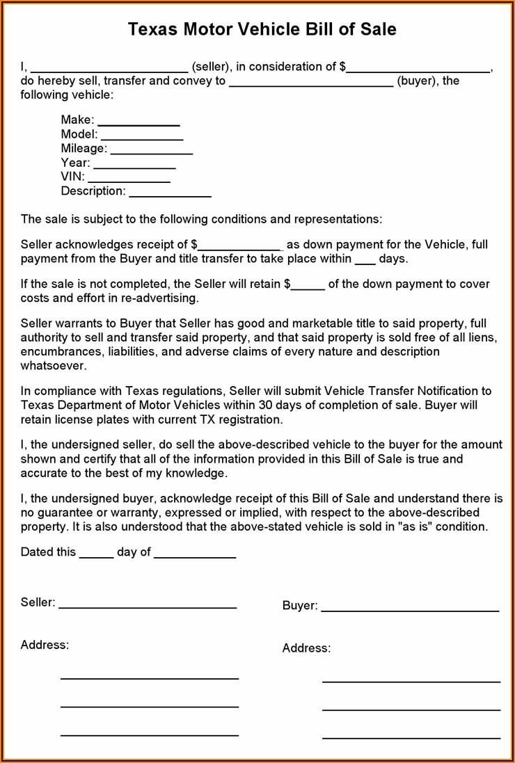 Texas Vehicle Bill Of Sale Form Pdf