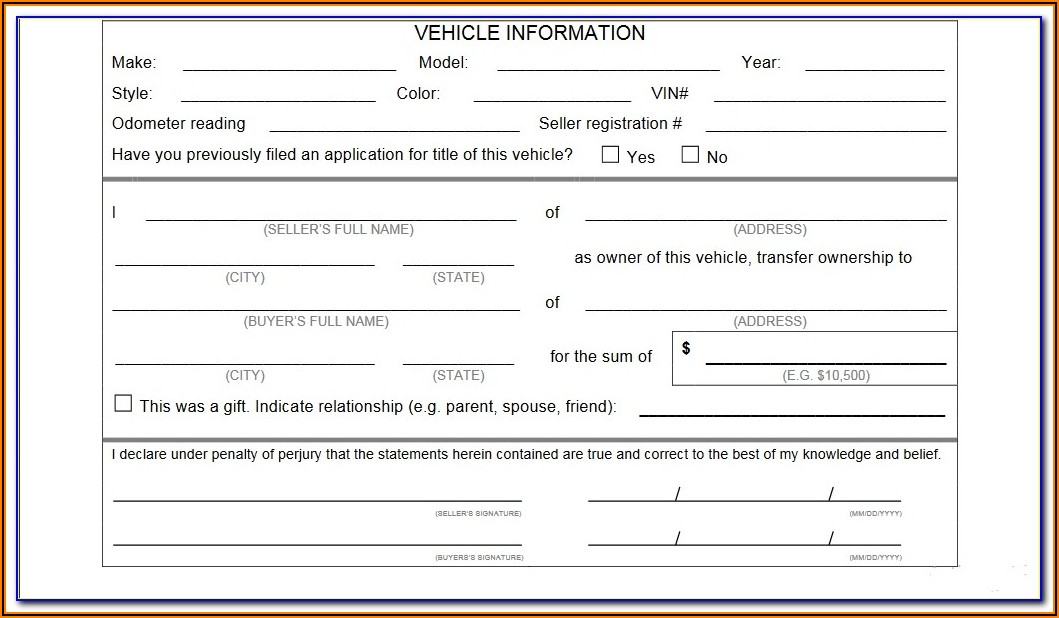 Texas Vehicle Bill Of Sale Template Pdf