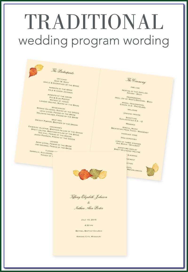 Traditional Wedding Program Examples