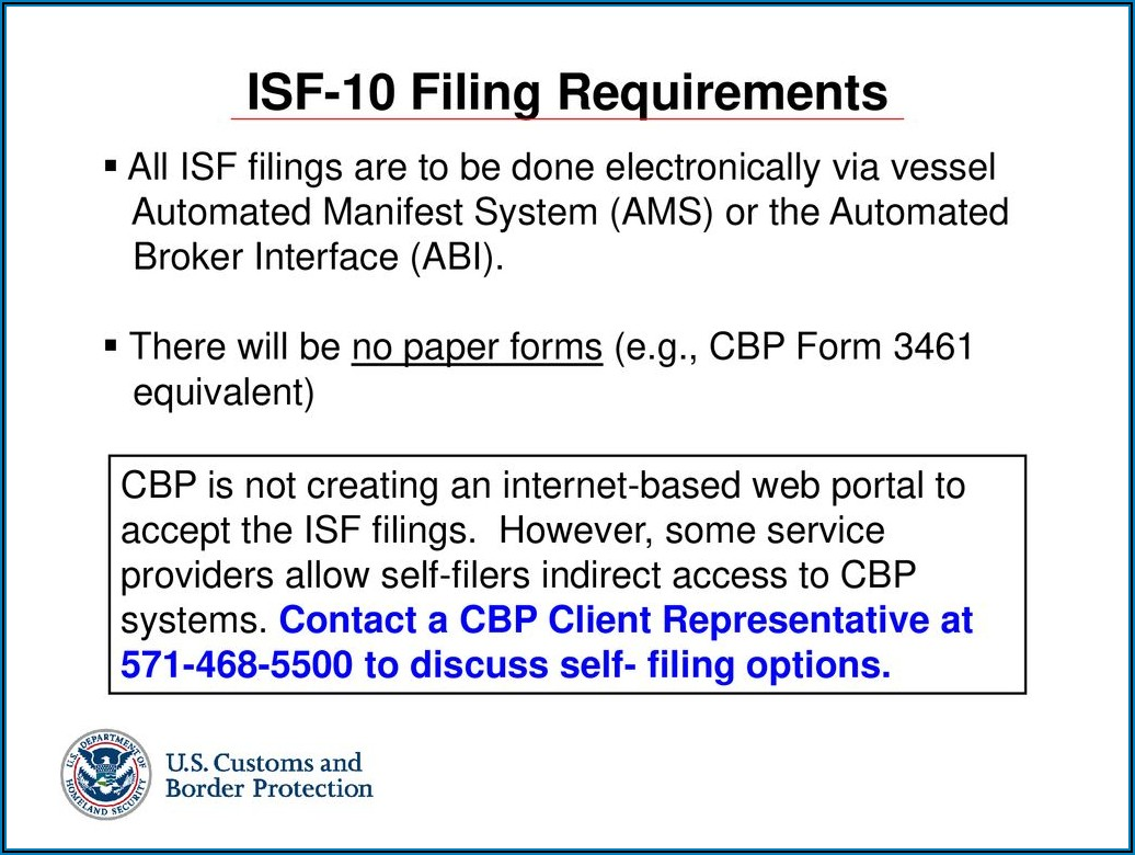 U.s. Importer Security Filing Submission Form