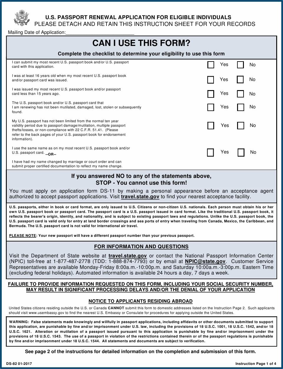 Us Passport Renewal Form Ds 82 Pdf