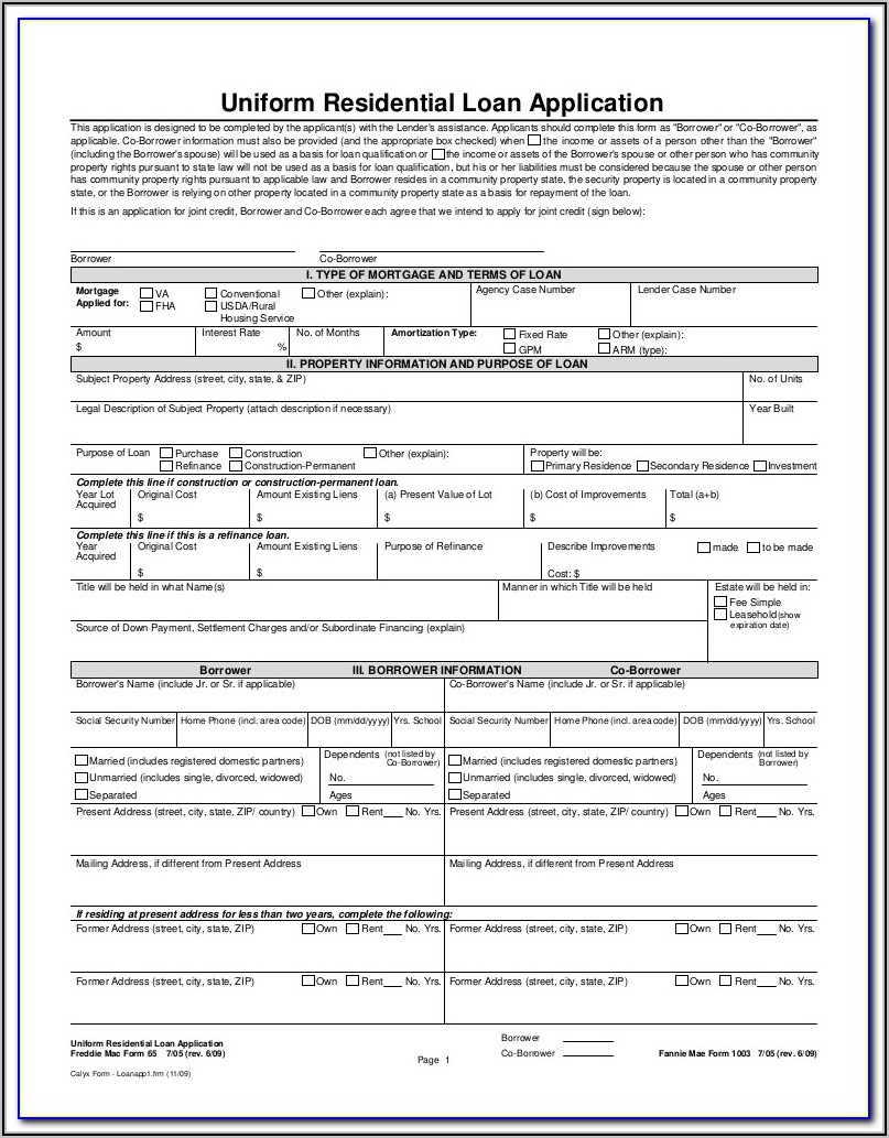 Va Home Loan Application Form